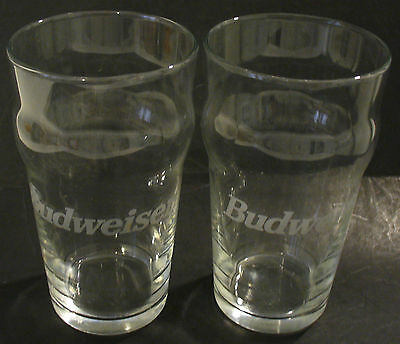 2 Budweiser Clear Glass Beer Glasses W/white Writing
