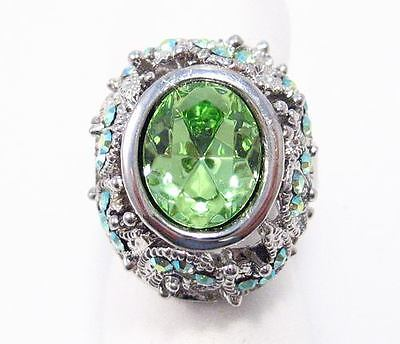 Designer Green Austrian Rhinestone Crystal Cocktail Ring