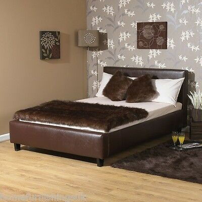 "STUNNING Contemporary Peebles 3ft 6"" Large Single Faux Leather Bed Frame"