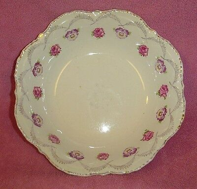 Crescent K China 4248 Round Rose Pansy Vegetable Serving Bowl