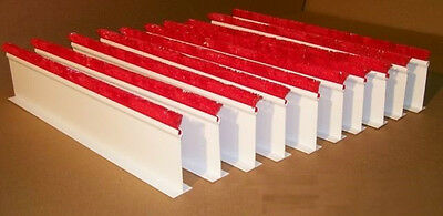 """QTY (10) 5""""H x 30""""L White Dividers w/ 1"""" Red Parsley for Supermarket Meat Case"""