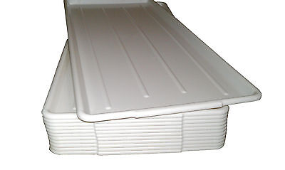 QTY (12) 12 x 30 WHITE  PLASTIC MEAT / SUPERMARKET TRAYS USDA FDA NSF Approved