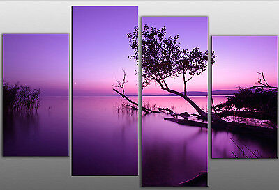 Extra Large Purple toned Lake Split Scenic Canvas Art Picture 5ft wide 4 panel