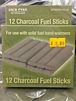 12 Solid Fuel Charcoal Handwarmer Refill Sticks Jack Pyke Hand Warmer Hot Heat