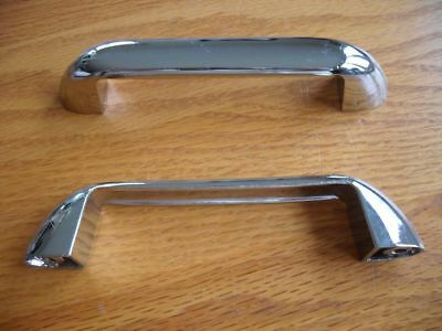 "vtg Chrome Wide grip Drawer Cabinet Door Pulls 4-5/8"" Long modern slanted ends"