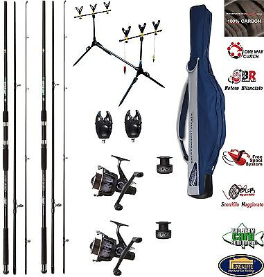 Canne Carbonio Da Pesca Carp Cat Fishing - Per Carpa Carpodromo + Mulinelli Set