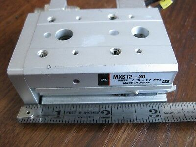 SMC MXS12-30 Air Slide Table Guided Cylinder Dual RodIntegrated Linear Rail
