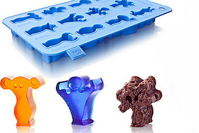Vacu Vin Party People Silicone Ice Cube & Baking Tray Jell-O Chocolate Molds NEW