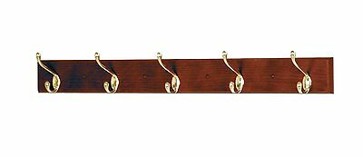 Wooden Mallet 5 Hook Coat Rack Mahogany 4.5 x 36 x 3.5 inches HCR-5BMH New