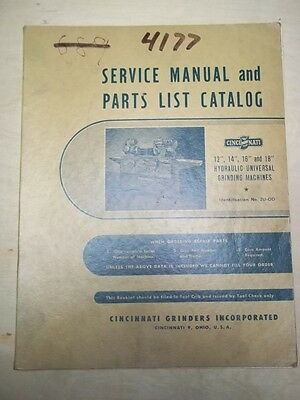 "Cincinnati Grinders Service Manual/Parts List~12/14/16/18"" Grinding Machines"