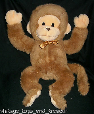 "16"" Vintage 1990 Ptc Prestige Toy Corp Brown Monkey Stuffed Animal Plush Noise"