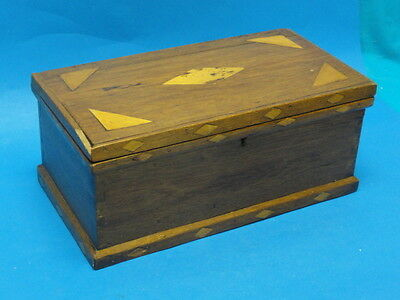 LARGE ANTIQUE VICTORIAN  WOOD with INLAY TRINKET SECRET  BOX