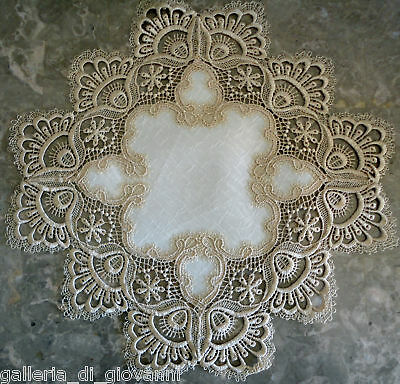Delicate Gold  trim Lace Doily   Estate Design