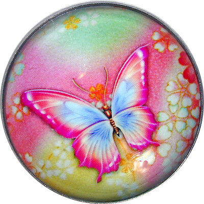 "Beautiful Crystal Dome Button Butterfly Pink, Blue & Green Lg Size 1 & 3/8"" B 37"