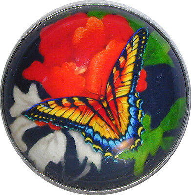 "Beautiful Crystal Dome Button Colorful Monarch Butterfly Lg Size 1 & 3/8"" B 39"