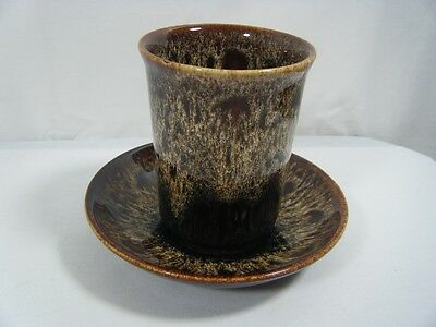 Fosters  Pottery Goonhaven Cornwall  Vase or Sugar Bowl & Saucer  Brown Cream*