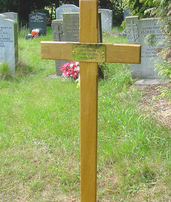 "Memorial Wooden Cross Grave Marker 36"" & Free Plaque & Free Engraving"