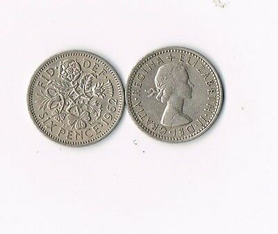 LOT OF 5 BRITISH WEDDING SIXPENCE COINS Elizabeth II  UK ENGLAND