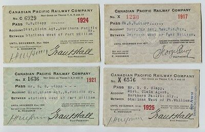 4 Canadian Pacific Railway Company Passes 1917, 1921, 1924 1925