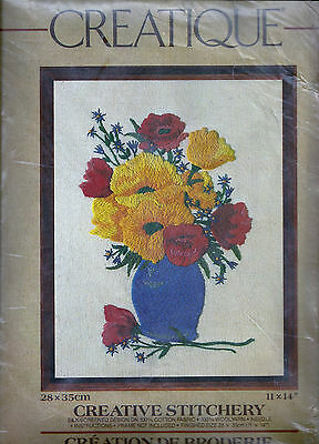 Vintage Vase Of Flowers Picture Crewel Embroidery Kit - Creative Stitchery