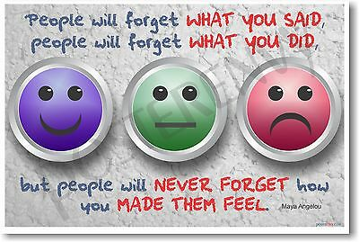 NEW Motivational POSTER - People Will Forget What You Said - Maya Angelou