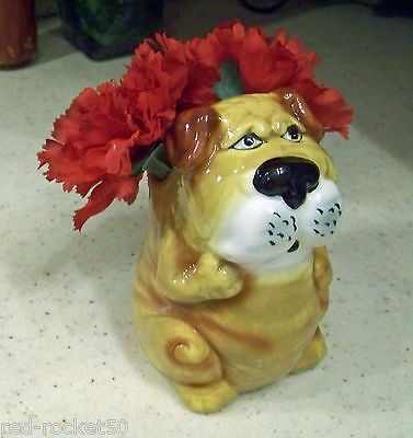 ENGLISH BULLDOG PLANTER, Ceramic, Bully Expression, Great for silk flowers!
