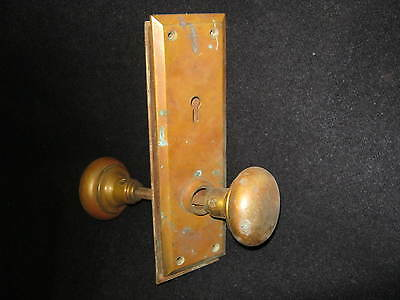 Vintage Brass Door Knob Set With Plates # 171-12