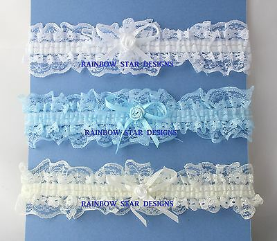 Something Blue Lace Wedding/hen night Garter with Bow