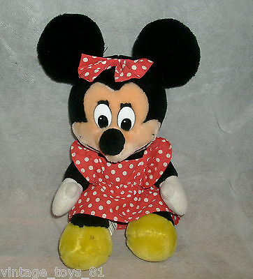 "10"" VINTAGE MINNIE MOUSE DISNEYLAND DISNEY WORLD STUFFED ANIMAL PLUSH TOY RARE"