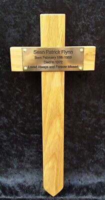 "Wooden Memorial Cross Grave Marker 16"" Tall & Plaque & Free Engraving"