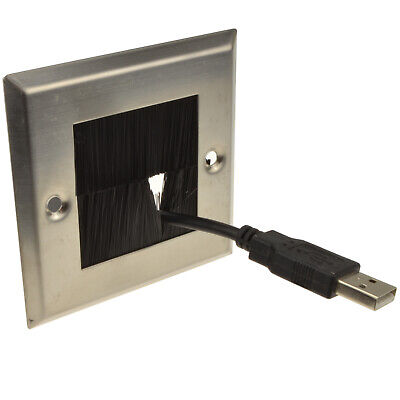 STEEL Cable Entry/Exit BRUSH Faceplate for Wall Outlet - Single Gang