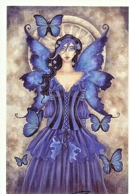 Amy Brown Limited Edition Print 13x19 /250 SHADES OF BLUE Fairy Faery Butterfly