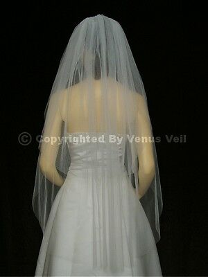 2T White Waltz Knee Length Cut Edge Bridal Wedding Veil