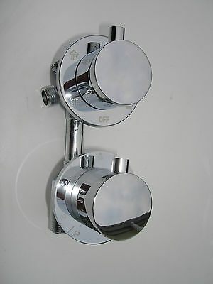 4 Way Thermostatic Shower Diverter Mixer Valve Tap,  All Metal & Chrome, 344N