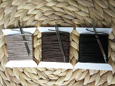 HEAVY DUTY 3/4mm THICK LEATHER SEWING THREAD FOR HAND STITCHING + 2 NEEDLES