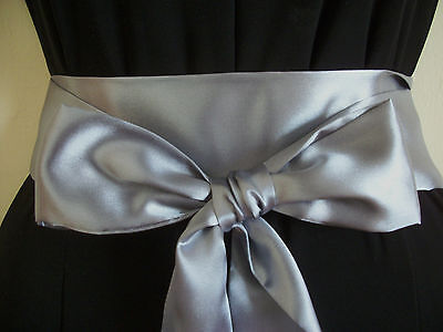 "2.5x100"" DARK SILVER GREY SATIN WRAP AROUND SASH BELT BOW UPDATE DRESS WEDDING"