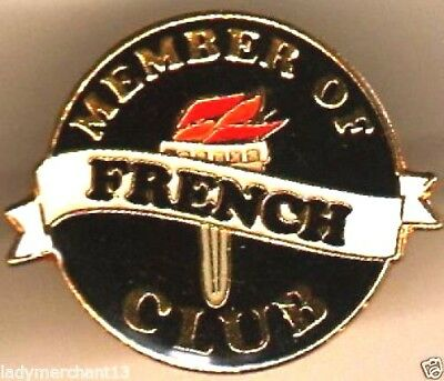 """MEMBER OF THE FRENCH CLUB"" Enamel Lapel Pins/WHOLESALE LOT OF 25/ALL NEW LINE"