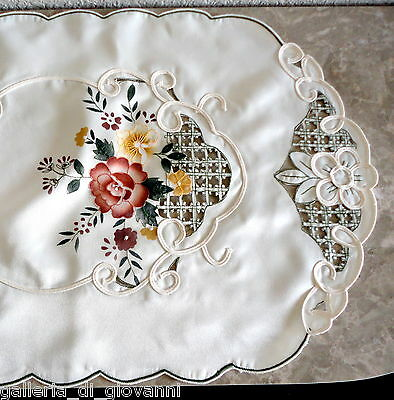 "BASKET OF BLOOMS  53"" Lace Doily  Table Runner Flower Flowers Rose Roses"