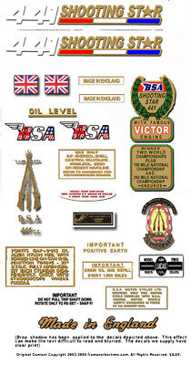 1970: B44SS - BSA SHOOTING STAR DECALS - Full set