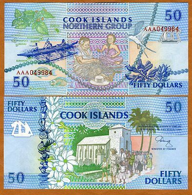 Cook Islands, $50, 1992, AAA prefix, Pick 10, UNC