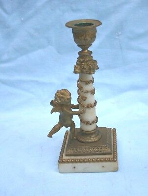 19C French Bronze & Marble Cherub Figurine Candle Stick   MAGNIFICENT
