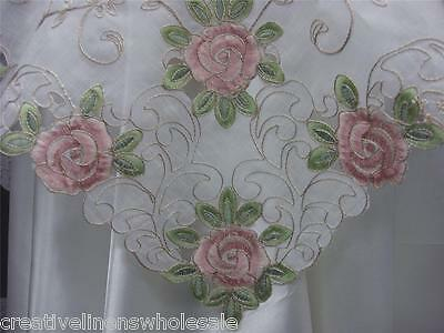 """Spring Embroidered Pink Rose Floral Cutwork Sheer Tablecloth 34x34"""" Square 3737W"""