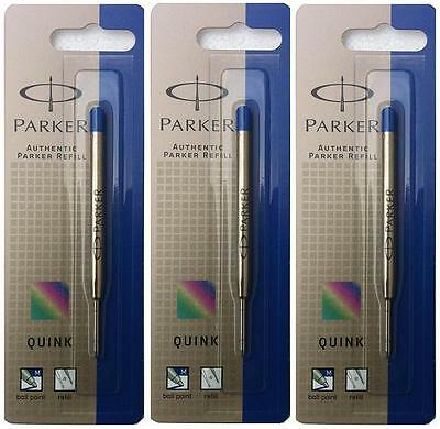 PARKER REFILL x 3 BALLPOINT MEDIUM BLUE NEW QUINK ORIGINAL