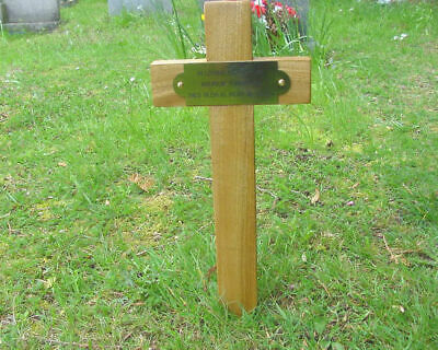 "Wooden Memorial Cross Grave Marker Oak 17"" & Free Plaque & Free Engraving"