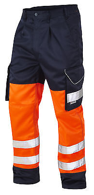 HI VIS VIZ ORANGE / NAVY COMBAT SAFETY SUPERIOR WORK TROUSER Polycotton