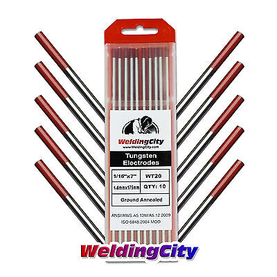 "10-pk TIG Welding Tungsten Electrode 2% Thoriated (Red) 1/16""x7"" US Seller Fast"