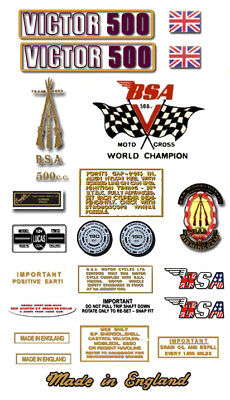 B50T: 1971-72  Victor 500 - RESTORERS DECAL SET - BSA
