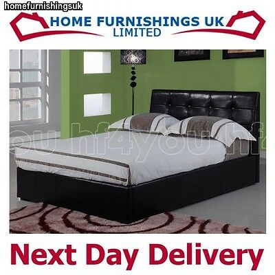 HARMONY MODENA OTTOMAN BLACK BROWN LEATHER 4ft Small Double Bed Frame FREE P&P