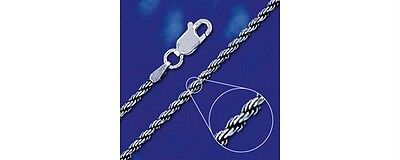Sterling Silver Diamond-Cut Rope Necklace Oxidized Chain 2mm Solid 925 Italy