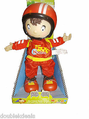 "New Noddy In Toyland Racer Noddy Doll -Vinyl Hands And Face! 11"" Tall - 2011 Toy"
